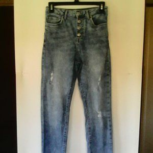 Forever 21 Distressed 27 Button Front Jeans